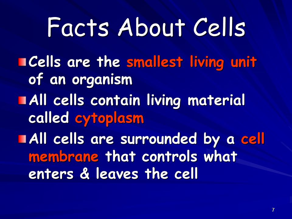7 Facts About Cells Cells are the smallest living unit of an organism All cells contain living material called cytoplasm All cells are surrounded by a