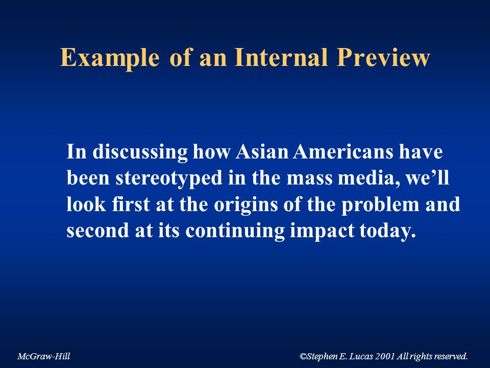 McGraw-Hill©Stephen E. Lucas 2001 All rights reserved. Example of an Internal Preview In discussing how Asian Americans have been stereotyped in the m