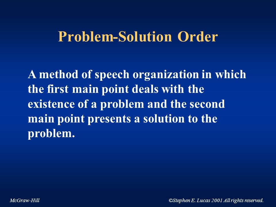 McGraw-Hill©Stephen E. Lucas 2001 All rights reserved. Problem-Solution Order A method of speech organization in which the first main point deals with