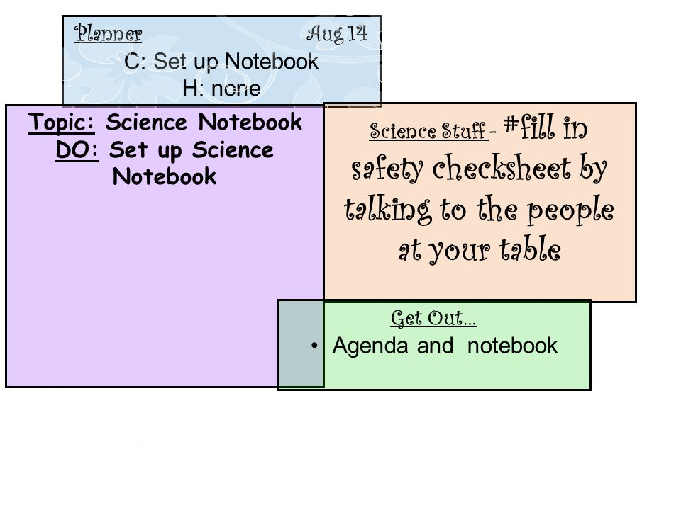 Planner Aug 14 C: Set up Notebook H: none Topic: Science Notebook DO: Set up Science Notebook Science Stuff - #fill in safety checksheet by talking to
