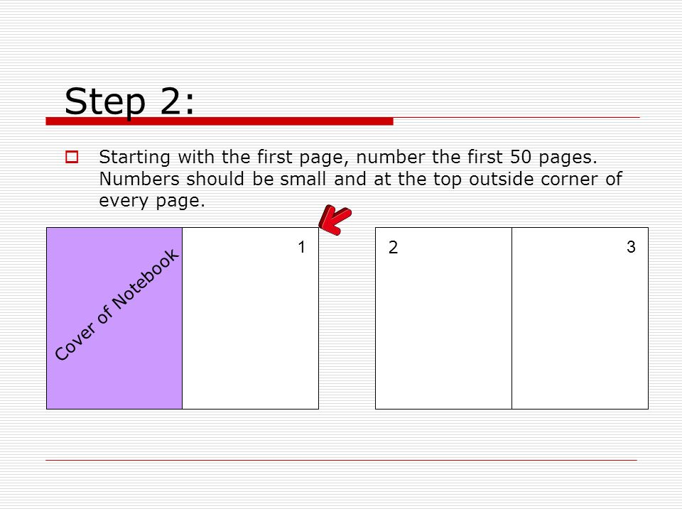 Step 2: Starting with the first page, number the first 50 pages. Numbers should be small and at the top outside corner of every page. 13 2 Cover of No