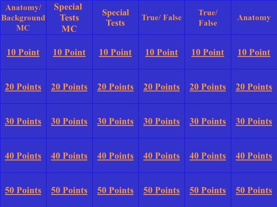 Anatomy/ Background MC Special Tests MC True/ False True/ False Anatomy 10 Point 20 Points 30 Points 40 Points 50 Points 10 Point 20 Points 30 Points 40 Points 50 Points 30 Points 40 Points 50 Points Special Tests