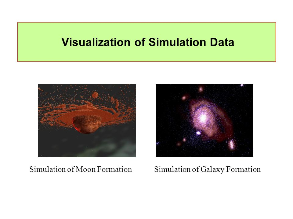 Visualization of Simulation Data Simulation of Moon FormationSimulation of Galaxy Formation