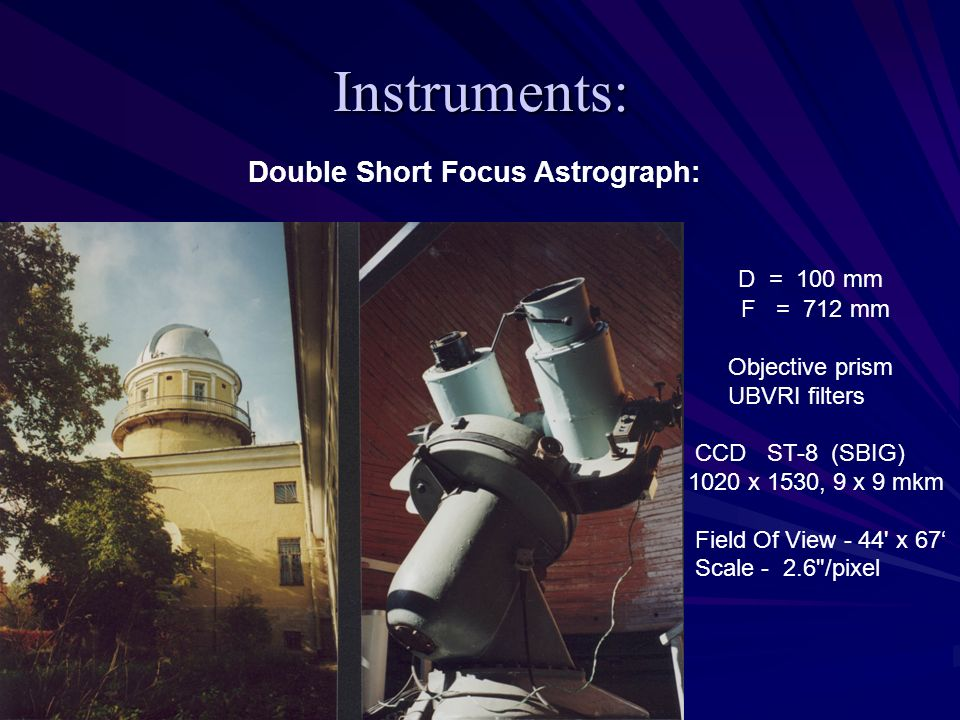 Instruments: Double Short Focus Astrograph: D = 100 mm F = 712 mm Objective prism UBVRI filters CCD ST-8 (SBIG) 1020 x 1530, 9 x 9 mkm Field Of View -