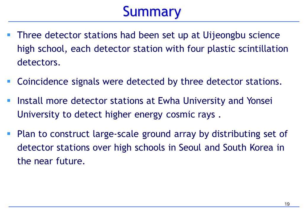 19Summary Three detector stations had been set up at Uijeongbu science high school, each detector station with four plastic scintillation detectors.
