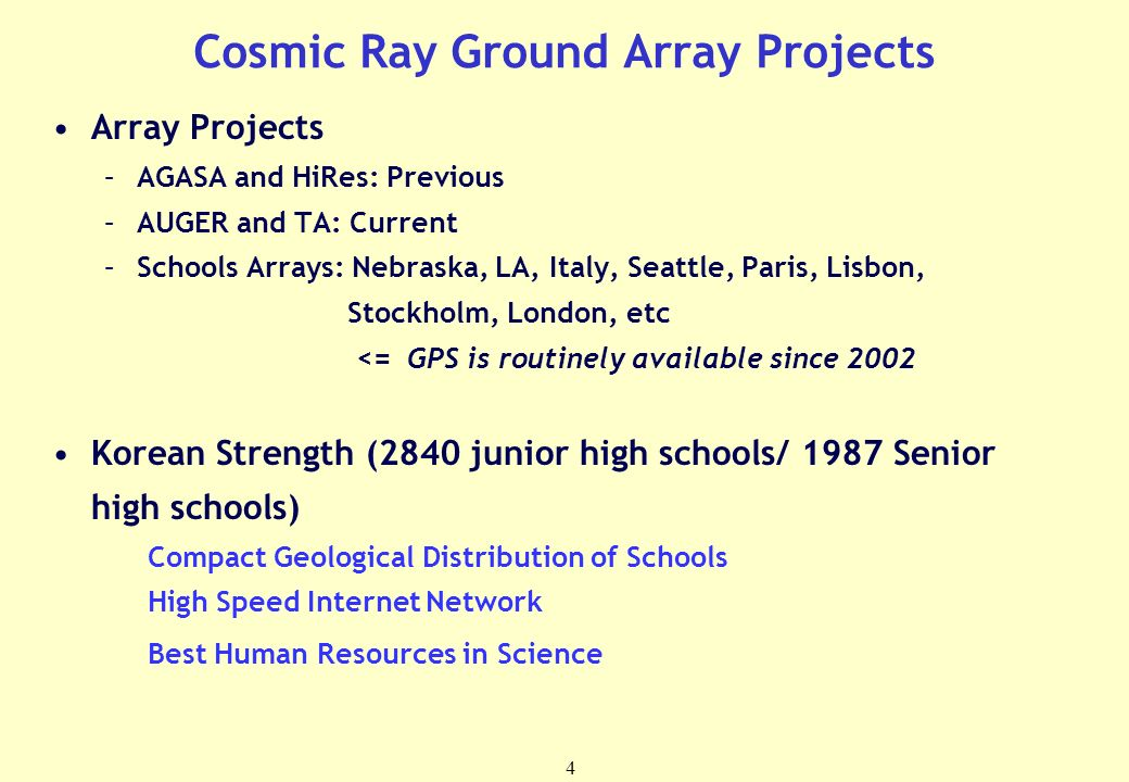 4 Cosmic Ray Ground Array Projects Array Projects –AGASA and HiRes: Previous –AUGER and TA: Current –Schools Arrays: Nebraska, LA, Italy, Seattle, Paris, Lisbon, Stockholm, London, etc <= GPS is routinely available since 2002 Korean Strength (2840 junior high schools/ 1987 Senior high schools) Compact Geological Distribution of Schools High Speed Internet Network Best Human Resources in Science