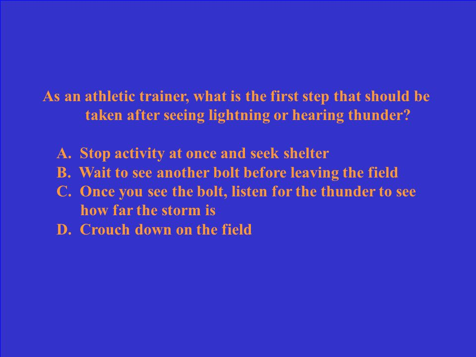 If the flash to bang is 15 seconds, how far away is lightening occurring? A. 3 Miles B. 1 Mile C. 6 Miles D. 5 Miles