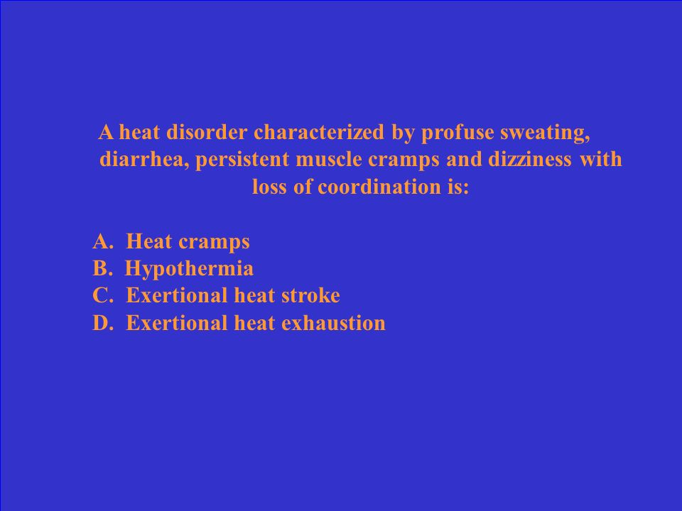 A critical consideration in avoiding heat stress is to: A. Acclimatize B. Identify susceptible athletes C. Eat a well balanced diet D. Use electrolyte