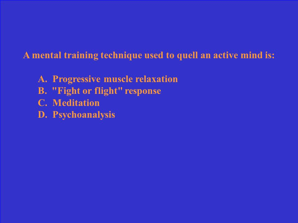 In performing progressive muscle relaxation, the athlete must first tense the muscles for seconds, and then relax them for seconds. A. 5-7; 10-15 B. 5