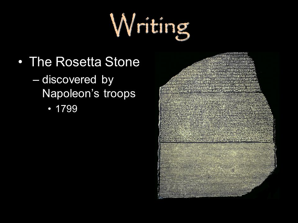 Writing The Rosetta Stone –discovered by Napoleons troops 1799
