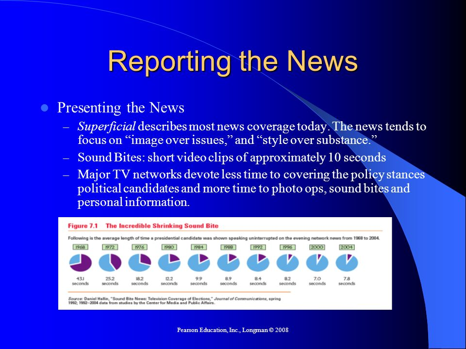 Pearson Education, Inc., Longman © 2008 Reporting the News Presenting the News – Superficial describes most news coverage today.