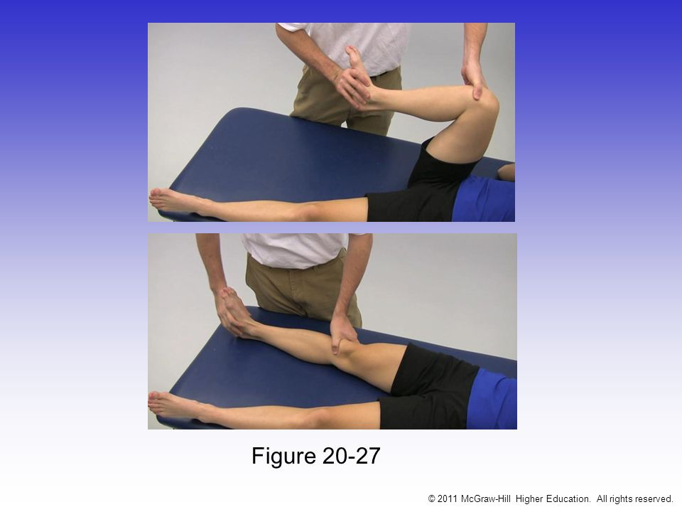 Apleys Compression Test –Hard downward pressure is applied w/ rotation –Pain indicates a meniscal injury Apleys Distraction Test –Traction is applied w/ rotation –Pain will occur if there is damage to the capsule or ligaments –No pain will occur if it is meniscal © 2011 McGraw-Hill Higher Education.