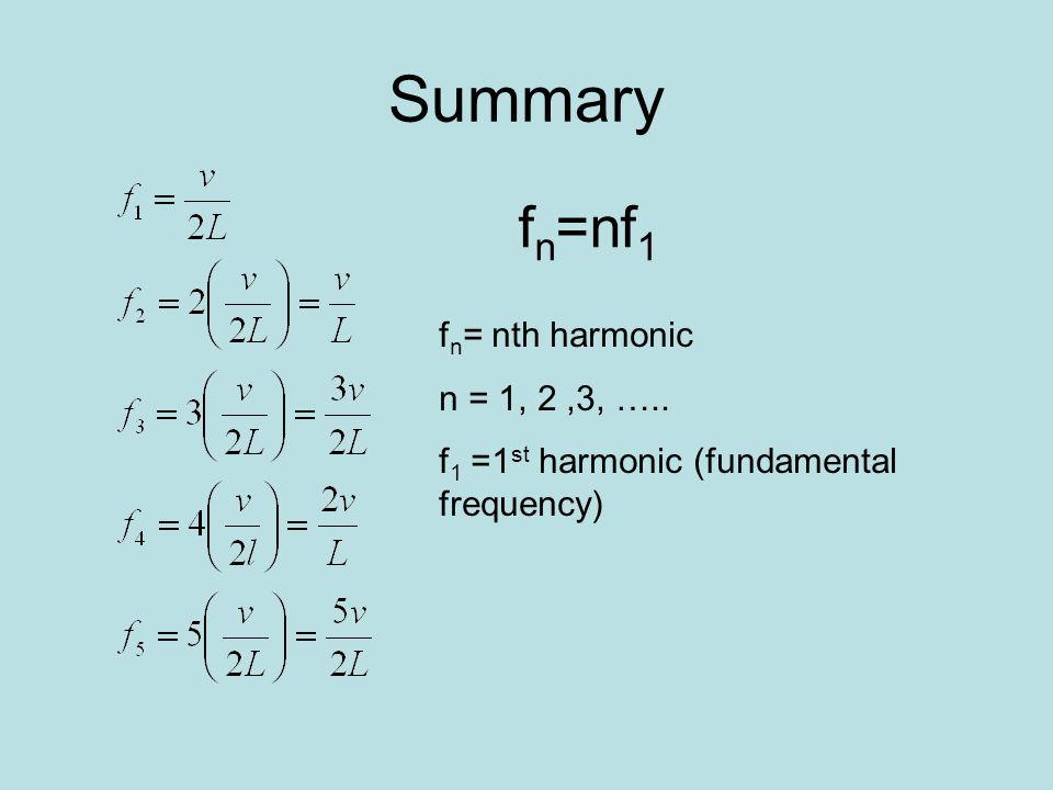 Summary f n =nf 1 f n = nth harmonic n = 1, 2,3, ….. f 1 =1 st harmonic (fundamental frequency)