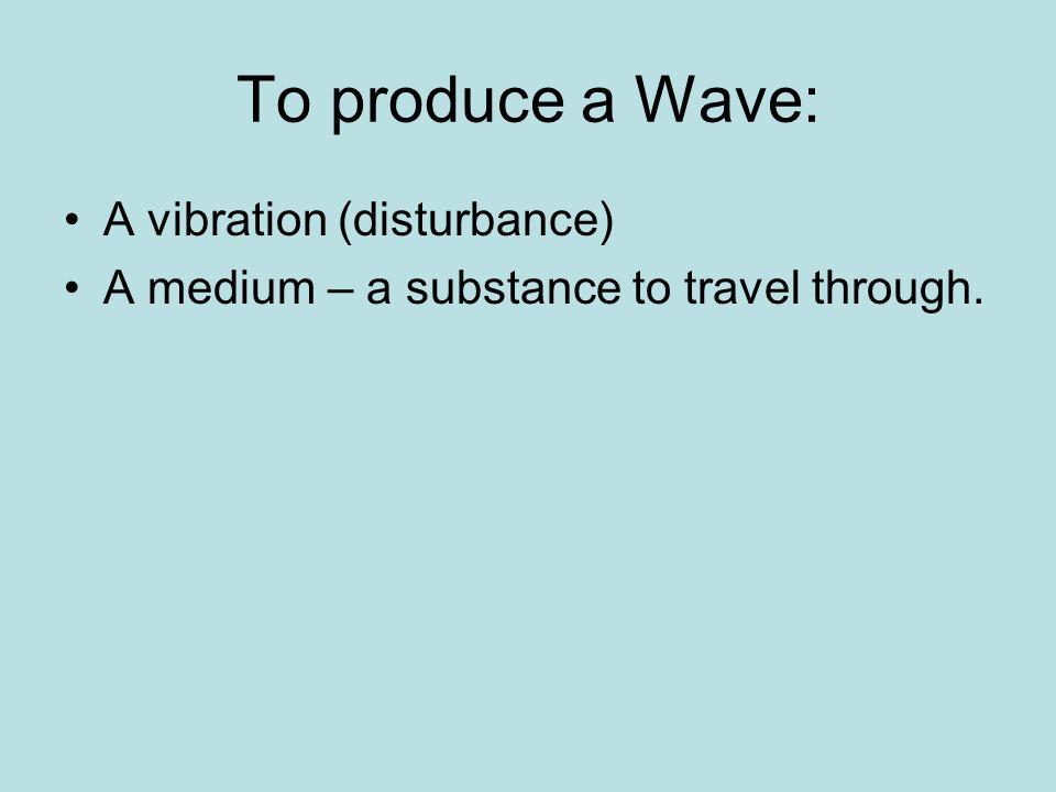 To produce a Wave: A vibration (disturbance) A medium – a substance to travel through.