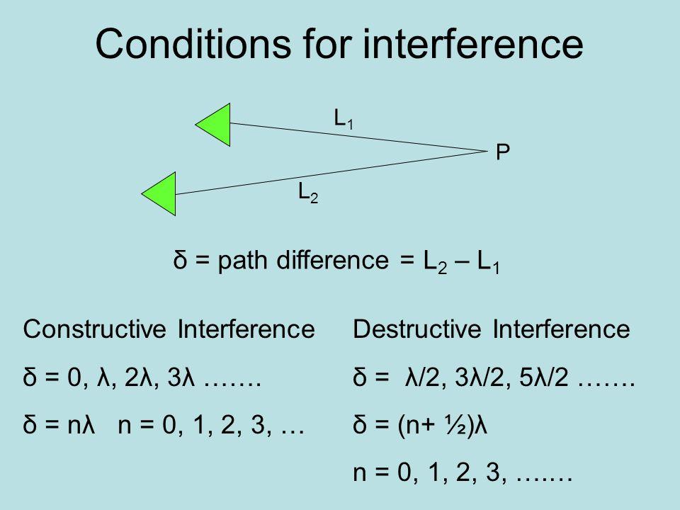 Conditions for interference L2L2 L1L1 P δ = path difference = L 2 – L 1 Constructive Interference δ = 0, λ, 2λ, 3λ ……. δ = nλ n = 0, 1, 2, 3, … Destru