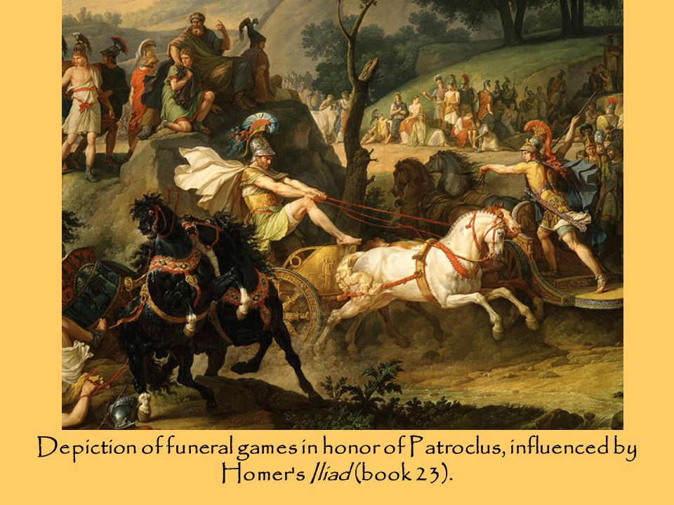 Depiction of funeral games in honor of Patroclus, influenced by Homer's Iliad (book 23).