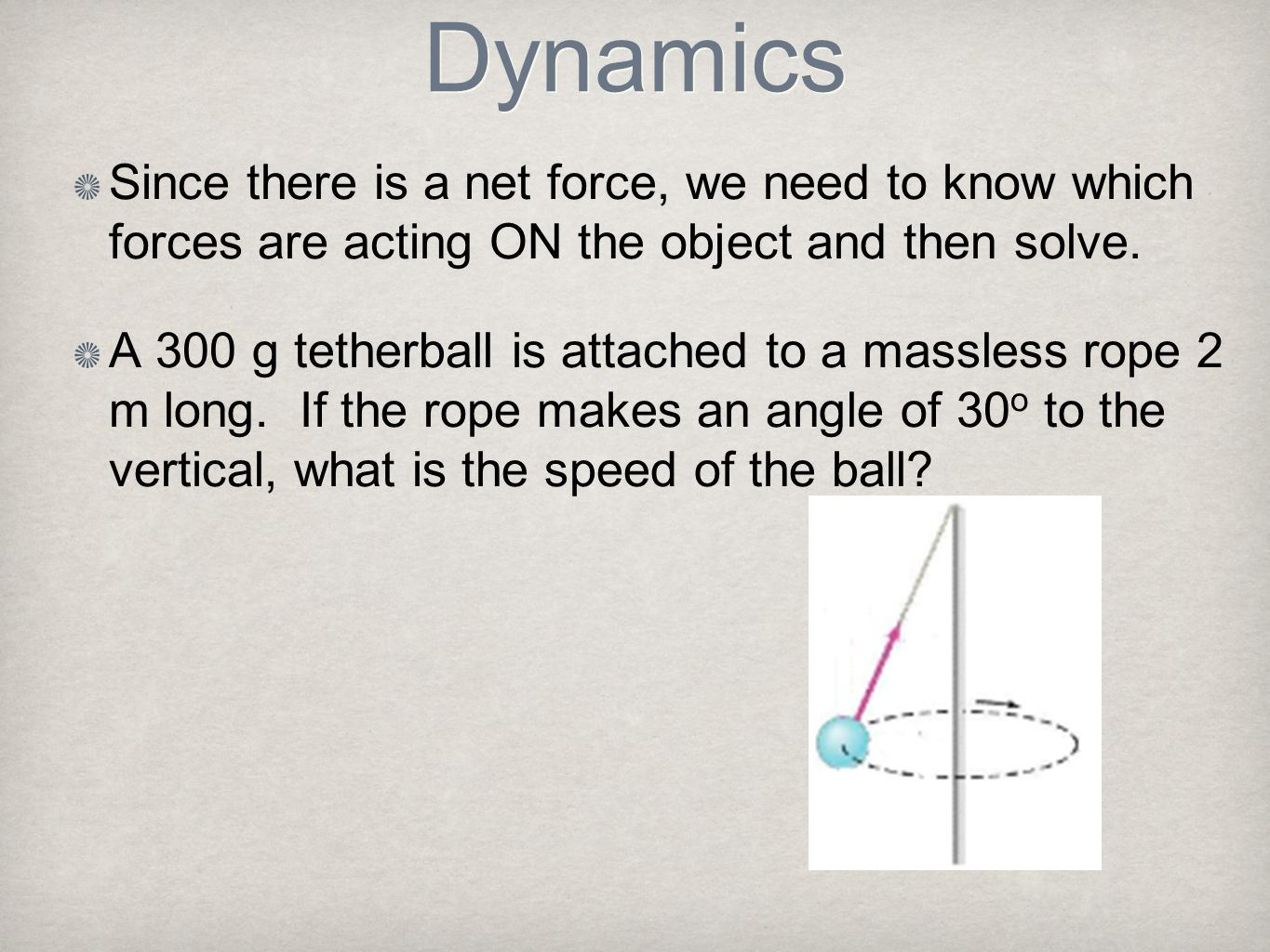 Dynamics Since there is a net force, we need to know which forces are acting ON the object and then solve. A 300 g tetherball is attached to a massles