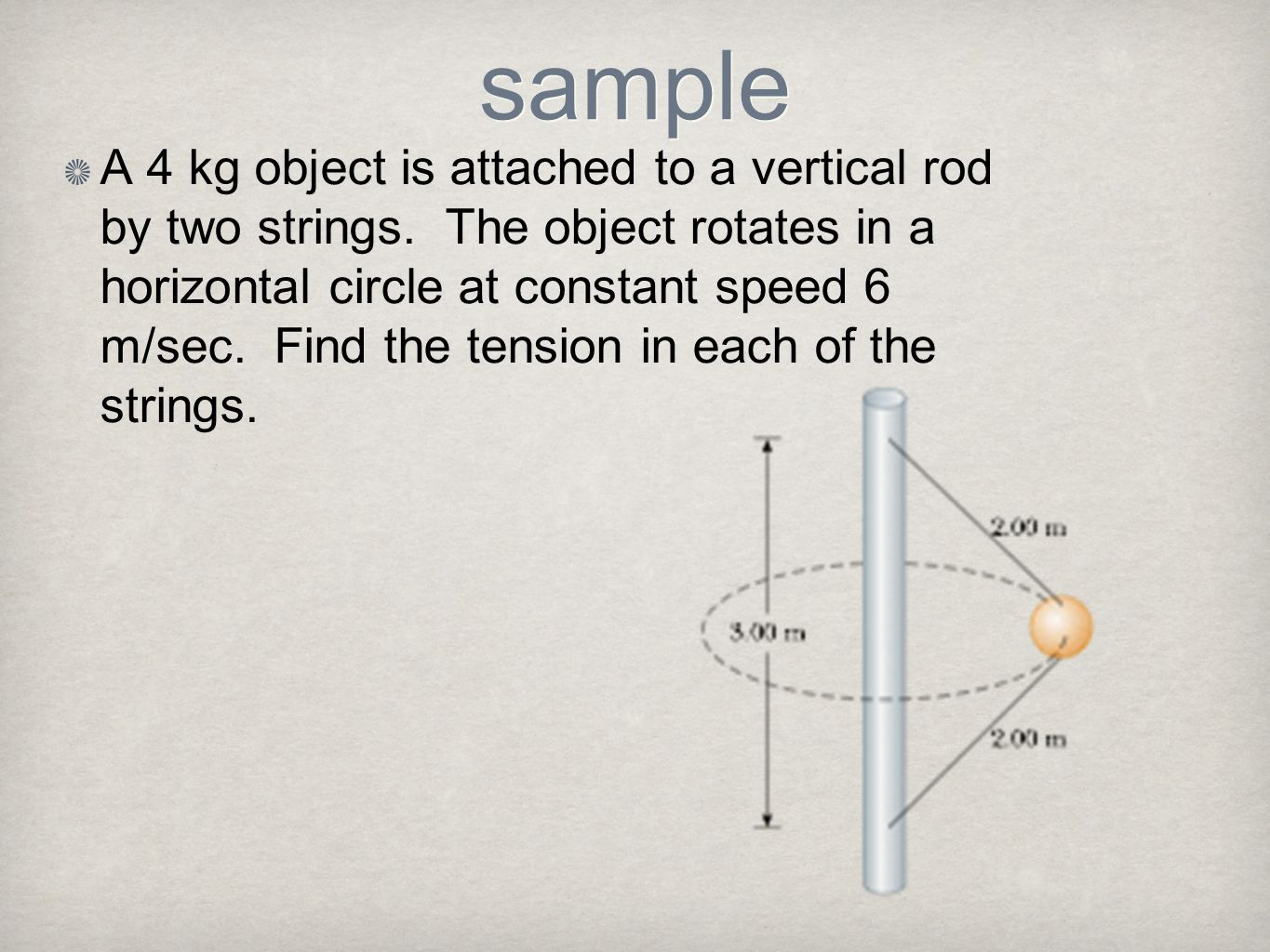 sample A 4 kg object is attached to a vertical rod by two strings. The object rotates in a horizontal circle at constant speed 6 m/sec. Find the tensi