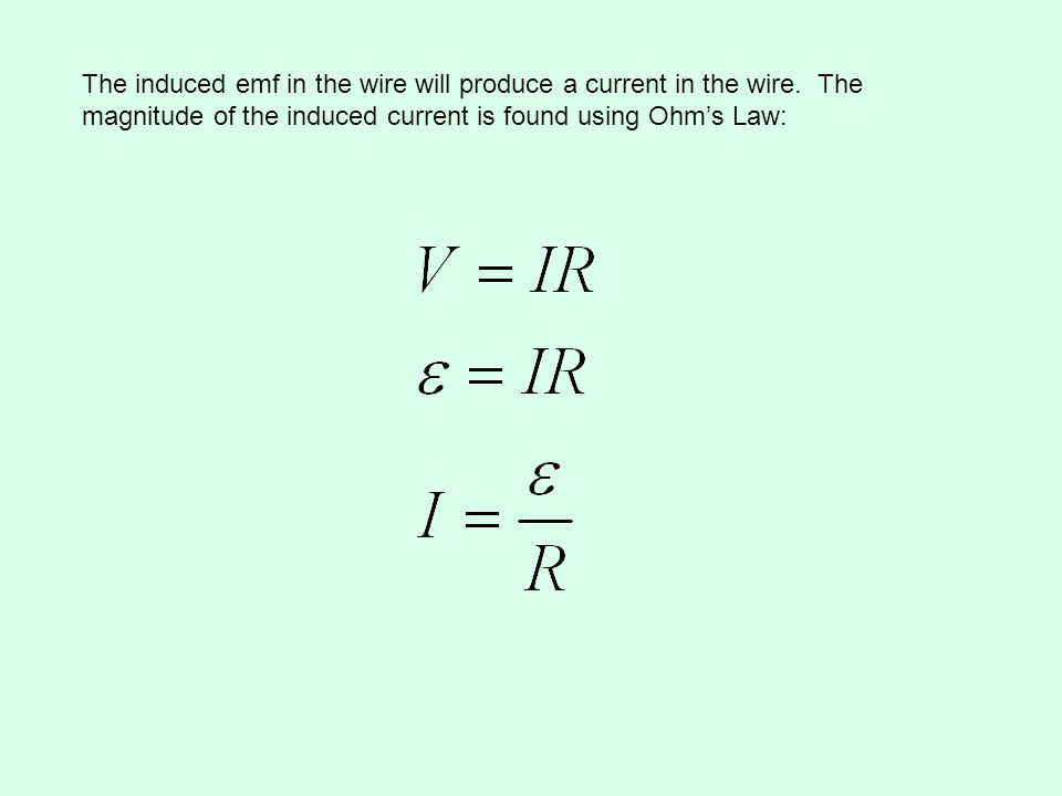 The induced emf in the wire will produce a current in the wire. The magnitude of the induced current is found using Ohms Law: