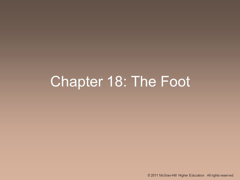 Chapter 18: The Foot © 2011 McGraw-Hill Higher Education. All rights reserved.