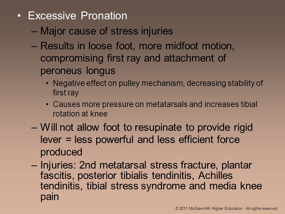 Excessive Pronation –Major cause of stress injuries –Results in loose foot, more midfoot motion, compromising first ray and attachment of peroneus lon
