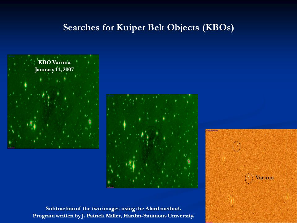 Searches for Kuiper Belt Objects (KBOs) Subtraction of the two images using the Alard method. Program written by J. Patrick Miller, Hardin-Simmons Uni
