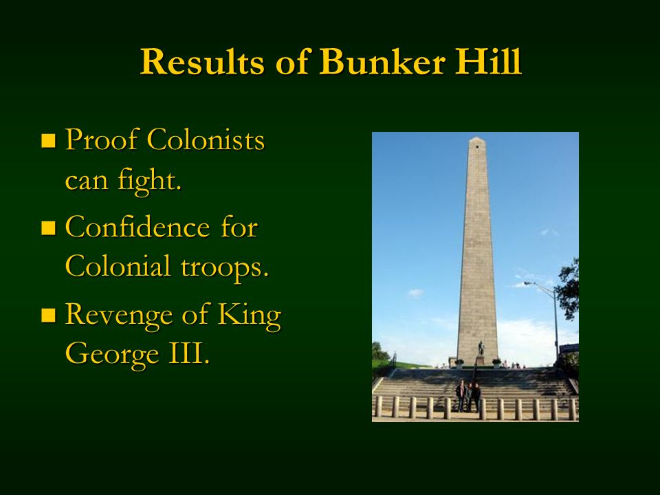 Results of Bunker Hill Proof Colonists can fight. Proof Colonists can fight. Confidence for Colonial troops. Confidence for Colonial troops. Revenge o