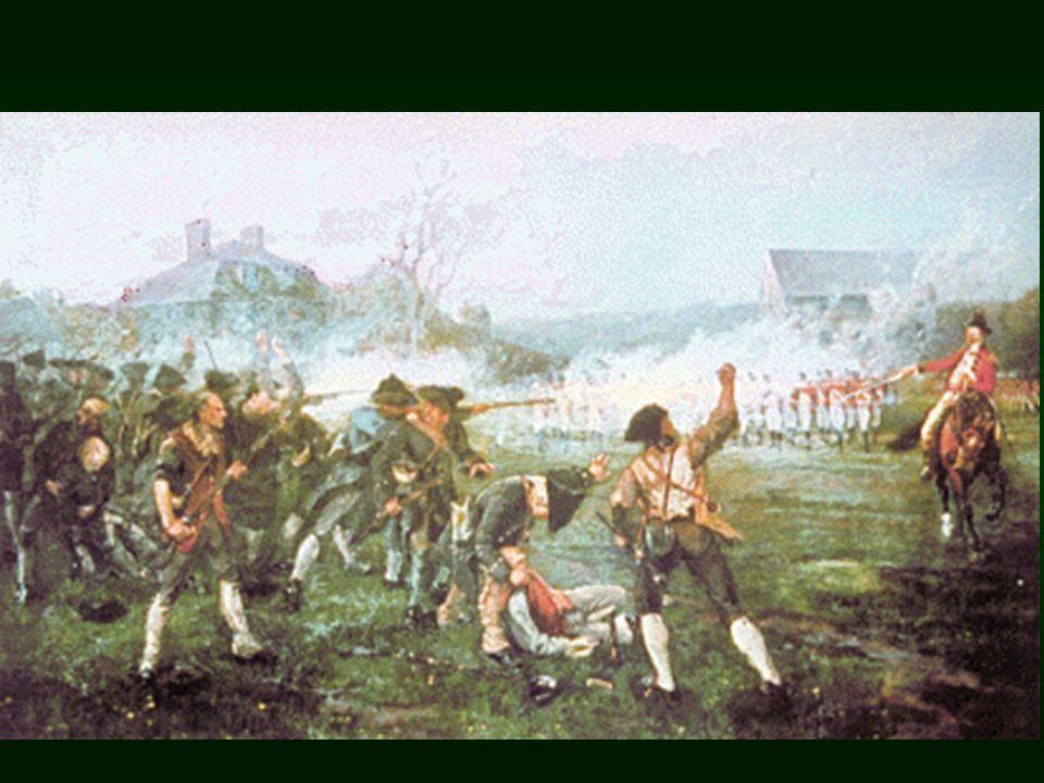 Battle of Concord Minutemen use Guerrilla Tactics Minutemen use Guerrilla Tactics Defeat the British at the North Bridge near Concord Defeat the British at the North Bridge near Concord British retreat back toward Boston British retreat back toward Boston Approx 4000 Minutemen line the route back to Boston.