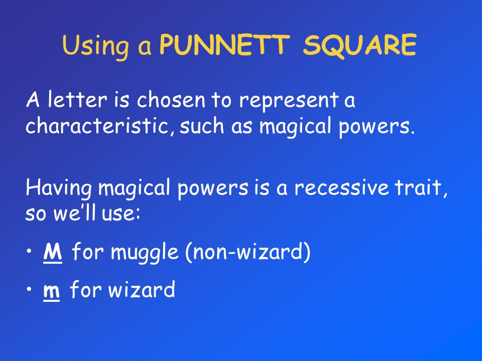 Using a PUNNETT SQUARE A letter is chosen to represent a characteristic, such as magical powers. Having magical powers is a recessive trait, so well u
