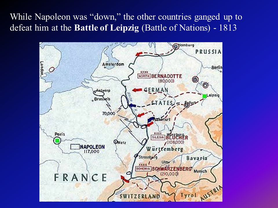 While Napoleon was down, the other countries ganged up to defeat him at the Battle of Leipzig (Battle of Nations) - 1813