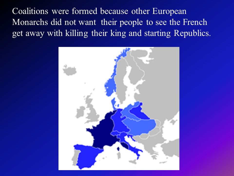 Coalitions were formed because other European Monarchs did not want their people to see the French get away with killing their king and starting Repub