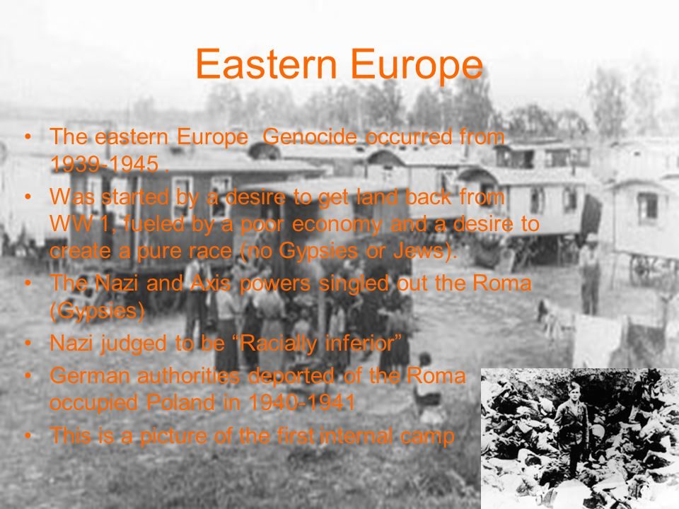 EASTERN EUROPE GENOCIDE ClassificationSymbolizationDehumanizationOrganizationPolarizationPreparationExterminationDenial Danger to public morals, public health and security Roma (Gypsies) Racially Inferior Arbitrary internment, forced labor, and mass murder Confined all Roma in Gypsy camps Moved Gypsies to concentration camps with the Jews Died in camps from starvation, disease or in the gas chambers Buried or incinerated the bodies along with the Jews
