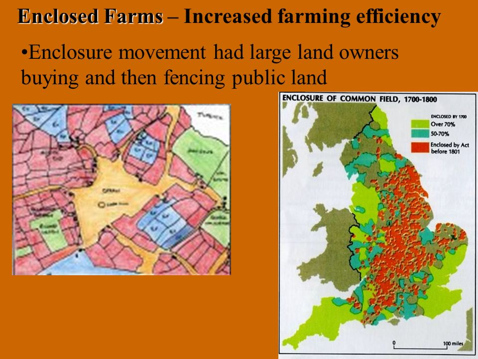 Enclosure movement had large land owners buying and then fencing public land Enclosed Farms Enclosed Farms – Increased farming efficiency