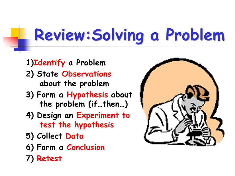 Review:Solving a Problem 1)Identify a Problem 2) State Observations about the problem 3) Form a Hypothesis about the problem (if…then…) 4) Design an E