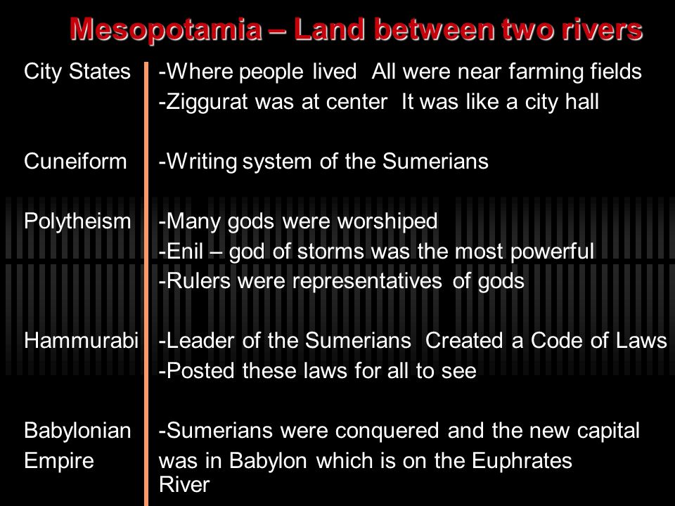Mesopotamia – Land between two rivers City States-Where people lived All were near farming fields -Ziggurat was at center It was like a city hall Cune
