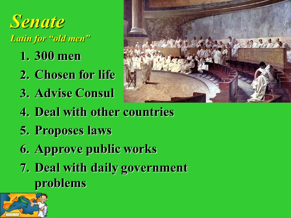 1. 3 00 men 2. C hosen for life 3. A dvise Consul 4. D eal with other countries 5. P roposes laws 6. A pprove public works 7. D eal with daily governm