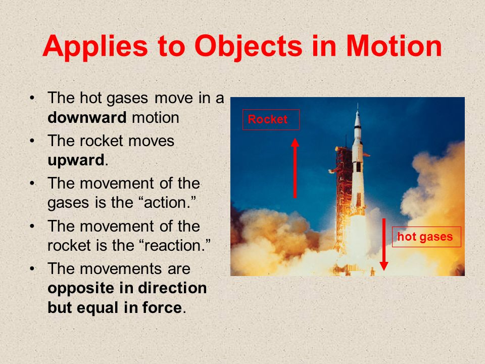 Applies to Objects in Motion The hot gases move in a downward motion The rocket moves upward.