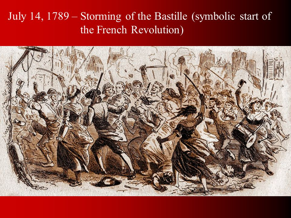 July 14, 1789 – Storming of the Bastille (symbolic start of the French Revolution)