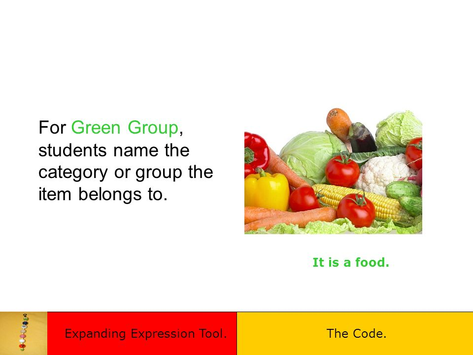 For Green Group, students name the category or group the item belongs to.