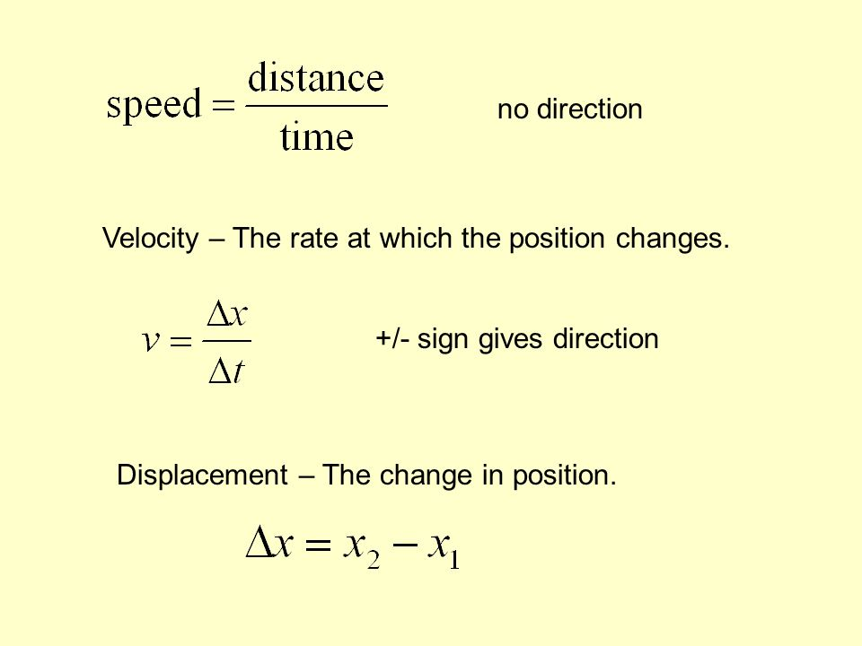 no direction Velocity – The rate at which the position changes.