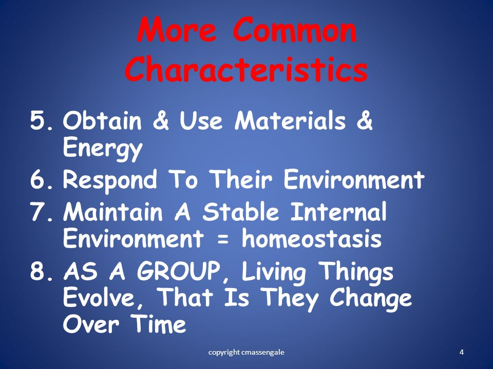4 More Common Characteristics 5.Obtain & Use Materials & Energy 6.Respond To Their Environment 7.Maintain A Stable Internal Environment = homeostasis