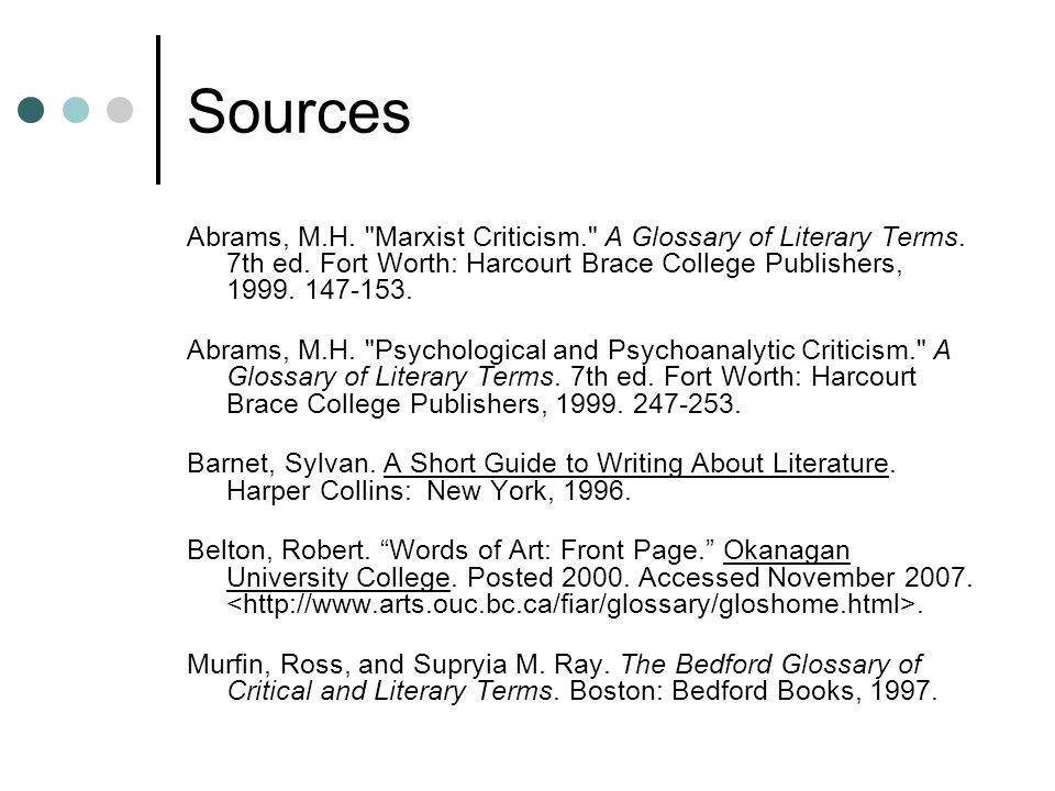 Sources Abrams, M.H.