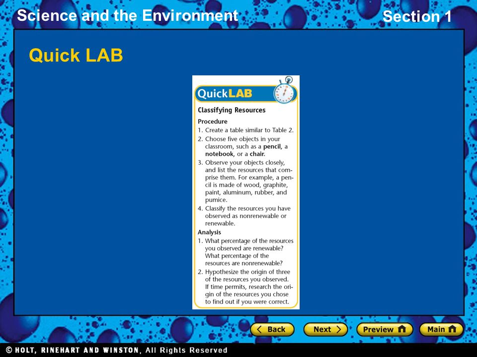 Section 1 Science and the Environment Quick LAB