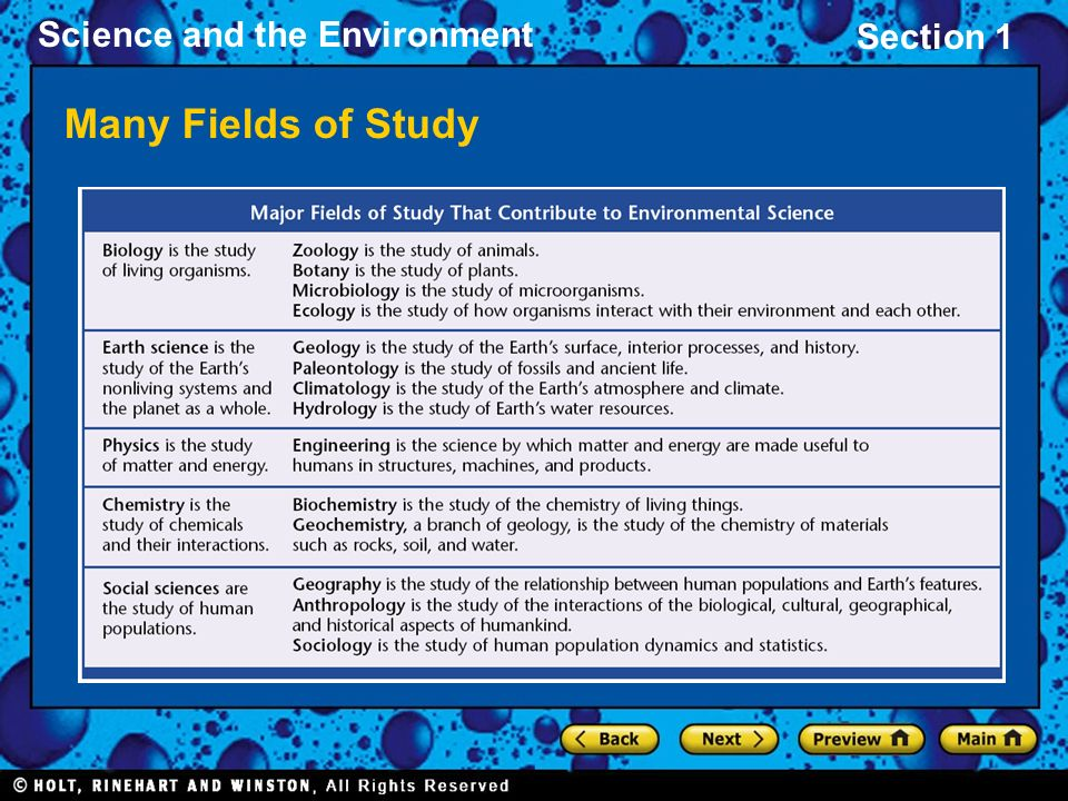 Section 1 Science and the Environment Many Fields of Study