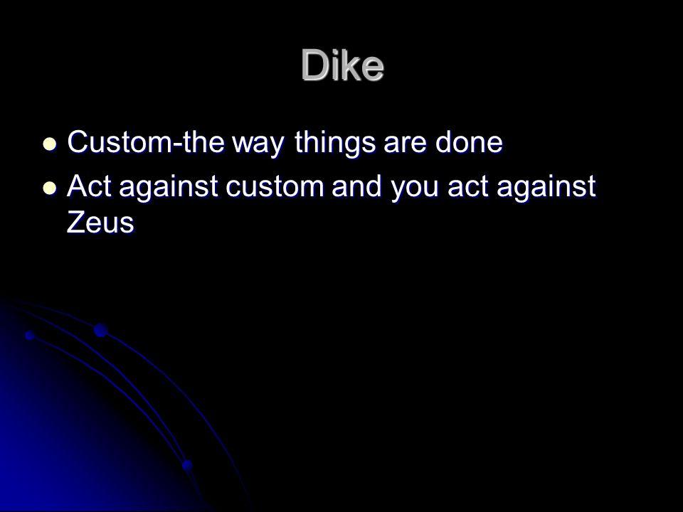 Dike Custom-the way things are done Custom-the way things are done Act against custom and you act against Zeus Act against custom and you act against Zeus