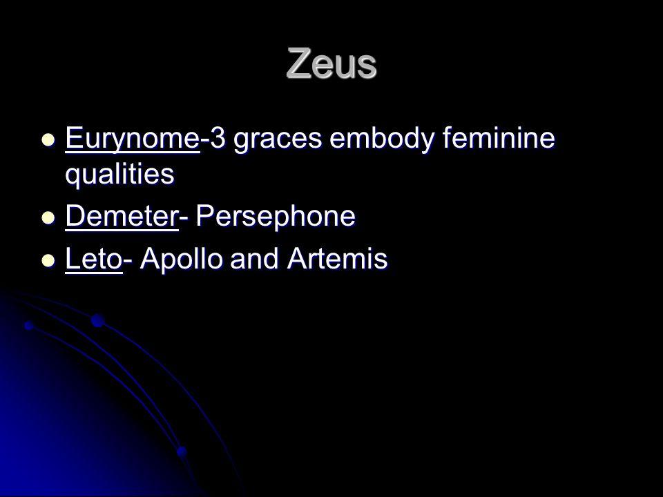 Zeus Eurynome-3 graces embody feminine qualities Eurynome-3 graces embody feminine qualities Demeter- Persephone Demeter- Persephone Leto- Apollo and Artemis Leto- Apollo and Artemis