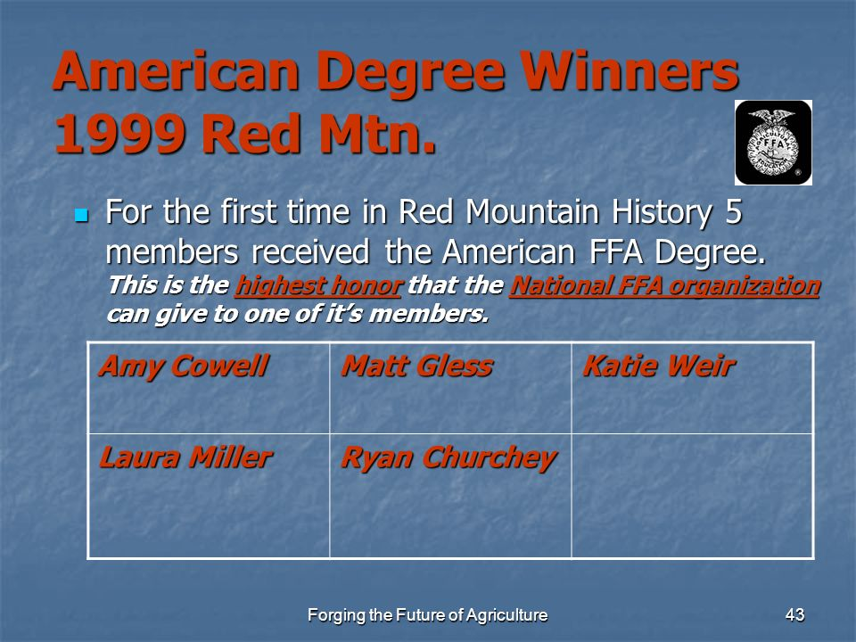 Forging the Future of Agriculture43 American Degree Winners 1999 Red Mtn. For the first time in Red Mountain History 5 members received the American F