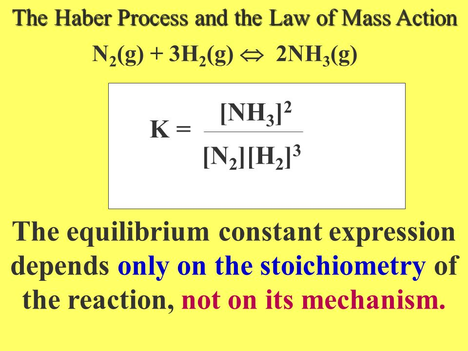 jA + kB pR + q S LAW OF MASS ACTION The LAW OF MASS ACTION allows us to express the relative concentrations of reactants and products at equilibrium i