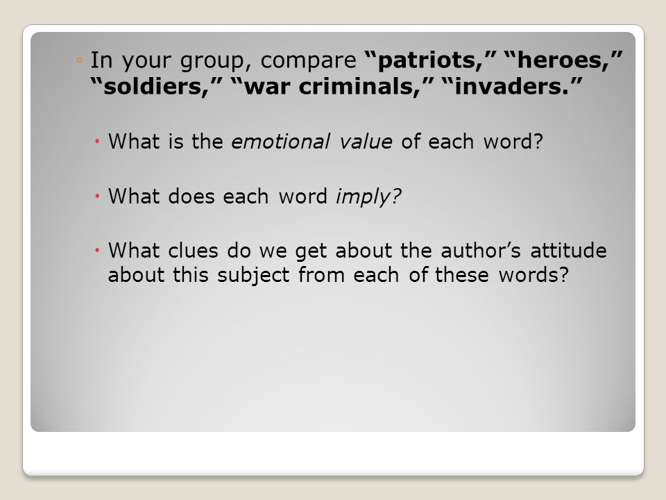 OTHER MANIPULATIVE LANGUAGE The following are contemporary military terms, found on p.