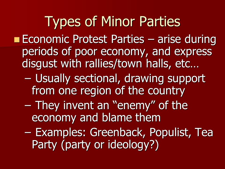 Types of Minor Parties Single-Issue Parties – concentrate on one public policy matter Single-Issue Parties – concentrate on one public policy matter –